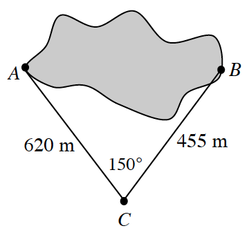 Randomly curved shaded area, with the furtherest left point labeled, A, & the furtherest right point labeled, B, & a point, below & between those points, labeled, c. Segments connect, point, a to, point, C, and, point, B, to point, c. Segment, AC, labeled 620 m, Segment, BC, labeled 455 m, & angle, C, labeled 150 degrees.