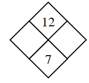 Diamond with 12 in top and 7 in bottom diamond.