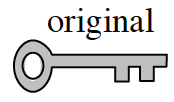 Horizontally placed key, labeled original, with the handle on the left and the fork edge facing down.