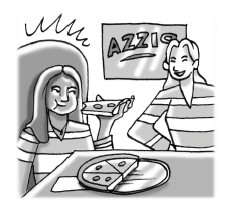 Girl eating pizza at pizza restaurant.