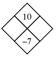 Diamond Problem. Left blank, Right blank, Top 10,  Bottom negative 7