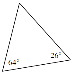 A triangle, angles labeled, 64 degrees, 26 degrees, and unknown.