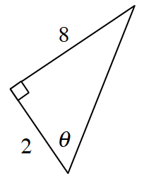 A right triangle with legs 2 and 8. Angle theta opposite the side that is 8.