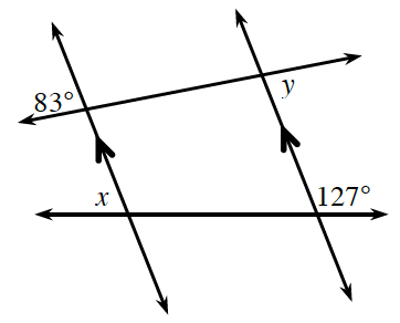 2 transversal lines, 1 at the top & 1 at the bottom, crosses 2 downward slanting parallel lines. The intersection of these lines in degrees: the top transversal & the far left parallel line: the exterior top angle is 83. The top transversal & the far right parallel line: the exterior bottom angle is y. The bottom transversal & the far left parallel line: the exterior top angle is x. The bottom transversal & the far right parallel line: the exterior top angle is 127.