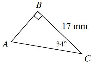 A right triangle A, B, C, with the following measurements: side B, C is 17 millimeters, angle B is 90 degrees, and angle C is 34 degrees.