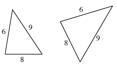 2 triangles oriented in different positions, labeled as follows: Left triangle sides: 6, 8, 9. Right triangle sides: 6, 8, 9.