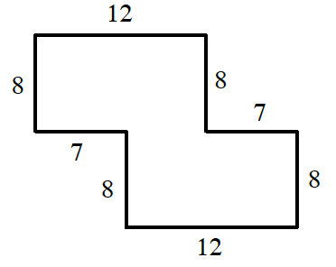 An enclosed figure: Starting at the upper left corner: right 12, down 8, right 7, down 8, left 12, up 8, left 7, up 8 to enclose the figure.