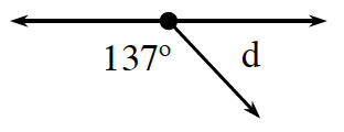3 rays have the same starting point, left ray is horizontal, middle ray slants down and to the right, right ray is horizontal, with the gap between the rays labeled as follows: left and middle, 137 degrees, middle and right, d.