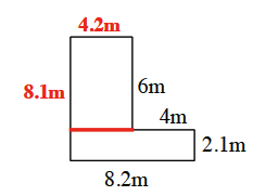 A segment extending the 4 m line to the left, added creating 2 rectangles.
