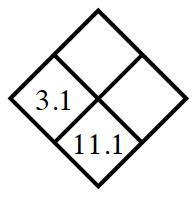 Diamond Problem. Left 3.1,  Right blank,  Top blank,  Bottom 11.1