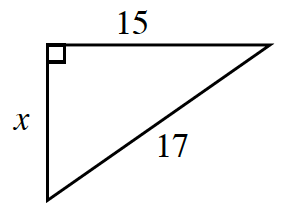 A right triangle labeled as follows: legs, 15, and x, hypotenuse, 7.