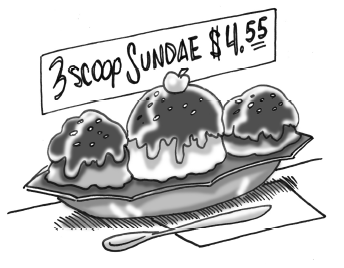 three-scoop sundae