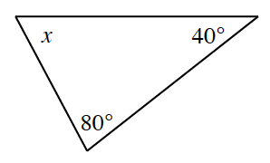 A triangle with angles labeled as follows: x, 40 degrees, and 80 degrees.