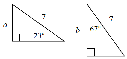 2 right triangles, labeled as follows: Left triangle: vertical leg labeled, a, hypotenuse labeled, 7, angle opposite vertical leg labeled 23 degrees. Right triangle, vertical leg labeled, b, hypotenuse labeled 7, angle opposite horizontal leg labeled 67 degrees.