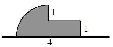 Horizontal segment, with shaded connected quarter circle & horizontal rectangle, such that horizontal radius & bottom edge of rectangle are aligned & centered on the segment, with combined edge labeled 4, quarter circle arc on the left, right edge of rectangle labeled, 1,portion of  vertical radius, above the left connected edge of rectangle labeled, 1.