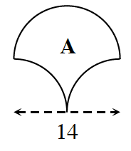 Figure A is an enclosed figure composed of arcs. The top left and right is the top left and right of a circle.  The bottom left is the top, right of a circle, and the bottom, right , is the top left of a circle. The diameter is 14.