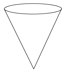 Cone with vertex on the bottom.