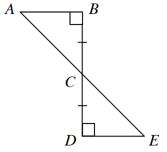 Lines A, E, and B, D intersect at point C. B, C and C, D have 1 tick mark. Angle B and Angle D are 90 degrees.
