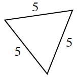 A triangle with three equal side lengths of 5.