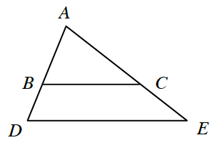 Triangle A, D, E. A line B, C is drawn horizontally inside the triangle to form a triangle inside A, B, C.