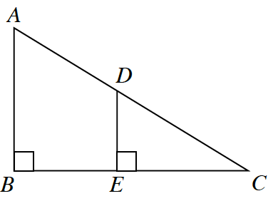 Right triangle A, B, C. A vertical line segment D, E is drawn parallel to side A, B inside triangle A, B, C, to create right triangle D, E, C.