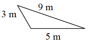 A triangle with a base of 5 meters, left side 3 meters, and right side 9 meters.