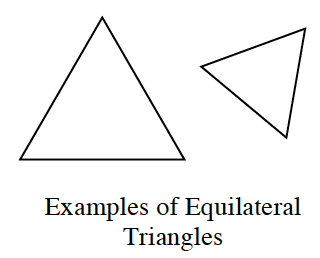 A large triangle ,with all equal sides, with one side horizontal. A smaller triangle, with all equal sides, to the right, with one side diagonal from upper left to lower right. The figures are labeled Examples of Equilateral Triangles.