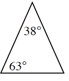 Triangle with angles 38 degrees and 63 degrees.