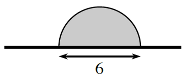 Horizontal segment, with semicircle, with it's diameter centered on the segment, distance across semi circle labeled 6.