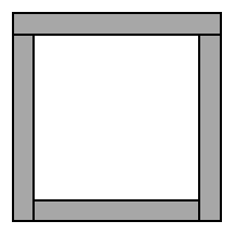 A frame figure with the following sides, each shaded: Top rectangle, contains 1 row of 10 tiles. Bottom rectangle, contains 1 row of 8 tiles. Each side rectangle, contains 1 row of 9 tiles.