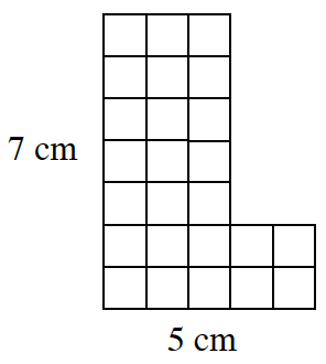 A tile figure. The first 5 rows, from the top, each have 3 tiles. The 6th and 7th rows each have 5 tiles. The left side is labeled, 7 centimeters. The bottom side is labeled, 5 centimeters.