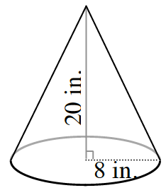 An upside down cone, with a dashed line drawn from the top vertex, to the middle of the circle, labeled 20 inches, then turning 90 degrees, and going to the edge of the circle, labeled 8 inches.