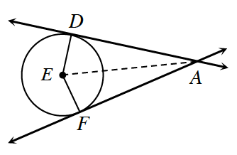 2 lines, intersecting at point, a. Top line is tangent to circle with center e, at point, d. Bottom line is tangent to circle, with center, e, at point, F. Line segments from, D, to, E, and from, E, to, F. Dashed line segment from, A, to, E.