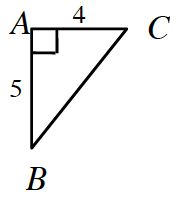 Right triangle, sides labeled as follows: vertical leg, a, b, is 5, horizontal leg, a, c, is 4.