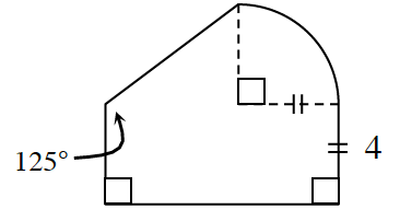 A rectangle with a height, 4, surmounted by a right triangle on the left side and a quarter circle on the right side. On the left side, the angle between the rectangle height and the triangle is 125 degrees. The radius of the circle is 4.