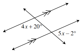 Transversal line, crosses 2 horizontal parallel lines. At the intersection of the top parallel line and the transversal, bottom, left is 4 x + 20 degrees. At the intersection of, the bottom parallel line and the transversal, bottom right is 5, x minus 2 degrees.