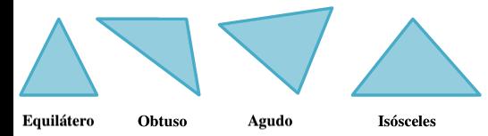 """""""Ejemplos de un triángulo equilátero, uno obtuso, uno agudo y uno isósceles."""