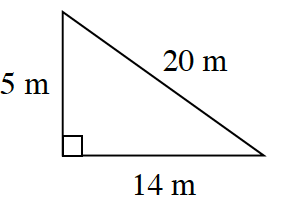 A right triangle with a base of 14 meters, height 5 meters, and hypotenuse 20 meters.