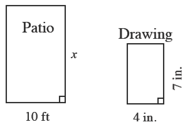 Two rectangles. The rectangle on the left is labeled patio with a width of 10 feet and a length of, x. The rectangle on the right is labeled Drawing, with a width of 4 inches, and a length of 7 inches.