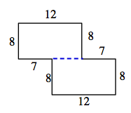 The same figure, divided into 2 rectangles, by extending, the horizontal 7 unit line, to the left.