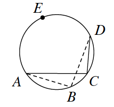 Circle with points, in order, a, b, c, d, e, solid line segment from, c, to, d, and from, c, to a, dashed line segment from, b, to d, and from, b, to a.