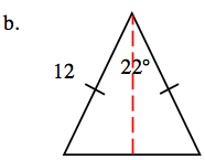 Added to the triangle, a dashed vertical line, from the angle labeled 22 degrees, to the horizontal side.