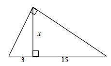 Right triangle, horizontal hypotenuse, segment from right angle perpendicular to hypotenuse, divides hypotenuse into 2 sections, left section labeled 3, right section labeled 15.