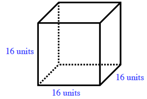 A cube, front bottom edge, right side bottom edge, and front left edge, each labeled, 16 units.