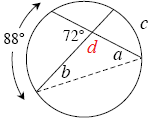 Added to diagram, angle below intersection, labeled, d.
