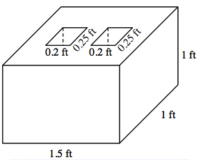 3 dimensional solid, with front, right and top sides visible, labeled as follows: front bottom, 1.5 feet, right bottom, 1 foot, right back, 1 foot. The top side has 2 equal rectangles, not connected, each labeled, 0.2 feet by 0.25 feet.