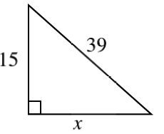 Right triangle, horizontal leg labeled, x, vertical leg labeled, 15, hypotenuse labeled 39.