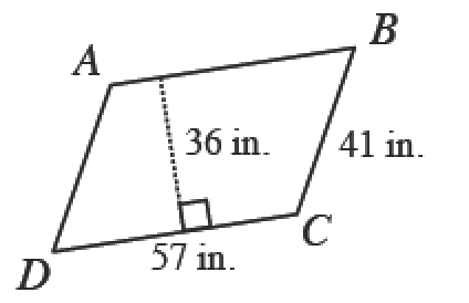 A right slanting parallelogram, with  vertices, starting in the upper left corner and going clockwise, labeled, A, B, C, d. Side, B C, labeled, 41 inches. Side, D C, labeled, 57 inches. A dashed line, perpendicular side, A B, labeled 36 inches.