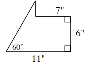 This is an enclosed figure. Draw 7 units, right, down, 6, left 11.  Then draw a line upward at a 60 degree angle until the top of the line is vertically over the start of the 7 unit line.  Drop a perpendicular line to the 7 unit line to enclose the figure. All units are in inches.
