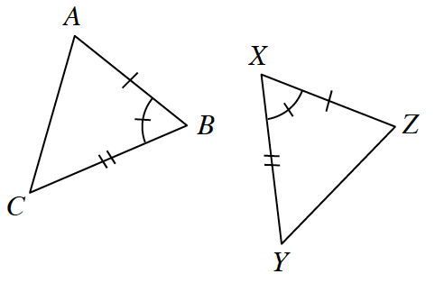 Two triangles labeled A, B, C, and X, Y, Z. Angle B and Angle X have one tick mark each.  Sides A, B, and X, Z have one tick mark each. And Sides C, B and X, Y have two tick marks each.